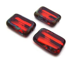 Czech Glass Beads - Rectangle 12x8mm Hyacinth Picasso x10