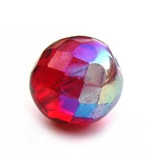 Czech Glass Fire Polished beads - 12mm Siam Ruby AB x1