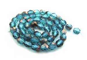 Czech Fire Polished beads 4mm Copper Teal x50