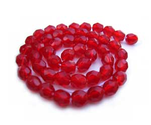 Czech Fire Polished beads 4mm Siam Ruby x50