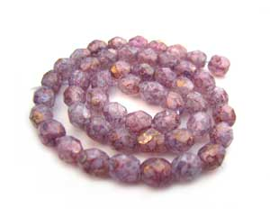 Czech Fire Polished beads 4mm Lustre Stone Pink x50
