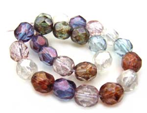 Czech Glass Fire Polished beads 6mm - x25 Luster Mix