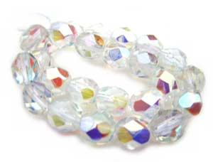 Czech Glass Fire Polished beads 6mm - x25 Crystal AB