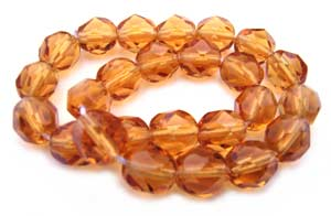 Czech Glass Fire Polished beads 6mm - x25 Topaz Medium