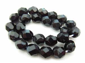 Czech Glass Fire Polished beads 6mm - x25 Jet Black