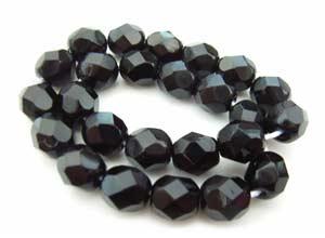 Czech Glass Fire Polished beads 6mm - x25 Jet Black