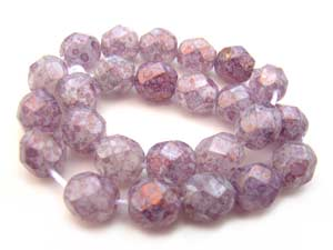 Czech Glass Fire Polished beads 6mm - x25 Lustre Stone Pink
