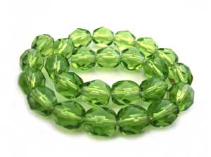 Czech Glass Fire Polished beads 6mm - x25 Olivine