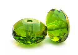 Czech Glass Fire Polished beads 11/7mm Roundel x1 Olivine
