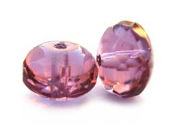 Czech Glass Fire Polished beads 11/7mm Roundel x1 French Rose