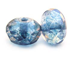 Czech Glass Fire Polished beads 11/7mm Roundel x1 Lustre Transparent Blue