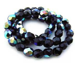 Czech Fire Polished beads 4mm Jet Black AB x50