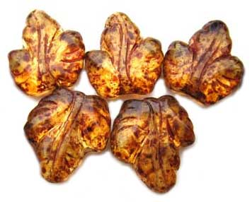Czech Leaf Beads 16x14mm Maple Leaves Autumn Glow Luster x5