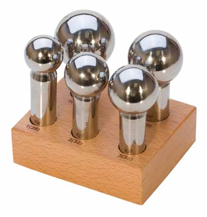 EuroTool - 5pc Large Dapping Doming Punch Set with a Wooden Stand (28mm-45mm) - Jewellers Tools