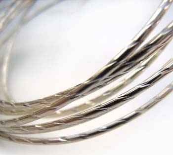 Sterling Silver 18g Diamond Cut Half-Hard Wire per Half ft - 15cm