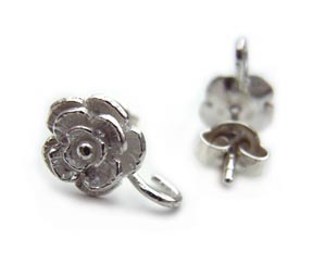 Sterling Silver Rose Flower Earring Posts 7.75mm open loop inc backs x1pr