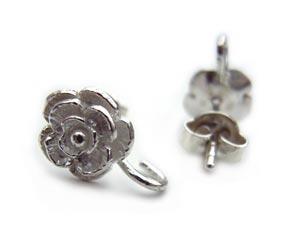 Sterling Silver Rose Flower Earring Posts 7.75mm open loop inc backs x1pr