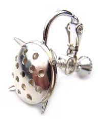 Screw Clip On Earrings Silver x1 pr
