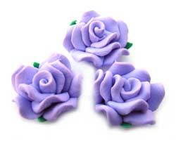 Handmade Sculpted Fimo Rose & Leaf Beads - Lilac x2