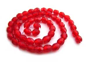 Czech Glass Fire Polished beads - 3mm Siam Ruby x50