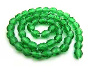 Czech Glass Fire Polished beads - 3mm Green Emerald x50