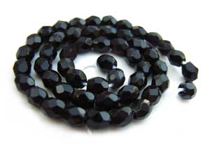 Czech Glass Fire Polished beads - 3mm Jet Black x50
