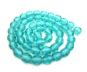 Czech Fire Polished beads 4mm Teal Light x50