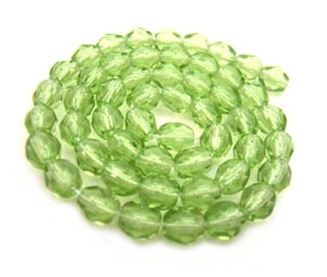 Czech Fire Polished beads 4mm Lime Green x50