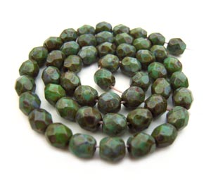 Czech Fire Polished beads 4mm Opaque Turquoise Picasso x50