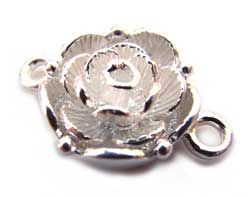 Sterling Silver Push Up FLower Clasp x1