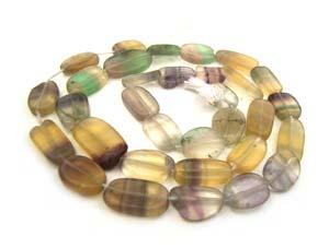 Multi-Colour Fluorite 9-12mm Oval Beads x1 Strand