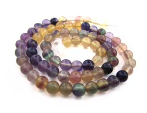 Multi-Colour Fluorite 4-4.5mm Round Beads x1 Strand
