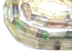 Multi-Colour Fluorite 8-10mm Brick Beads x1 Strand