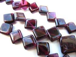 Garnet 6-8mm Diagonal Square Gemstone Beads per half strand