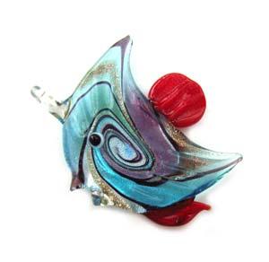 Tropical Angel Fish - Foil Lampwork Glass Pendant