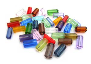 Glass Cylinder Tube Beads 9x5mm - Kaleidoscope Mix x25