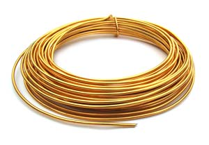Aluminium Wire 12 gauge (2mm) x39ft (12m) Gold