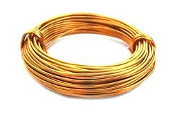 Aluminium Wire 18 gauge (1mm) x39ft (12m) Gold