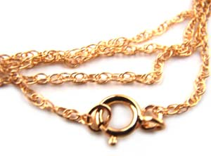 Gold Filled ~ Rope Chain Necklace 1.3mm ~ 18in - 45cm