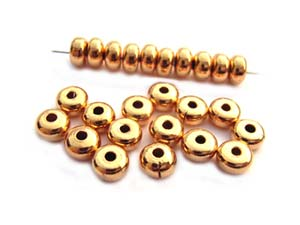 Base Metal Beads - 4.5x2.5mm Donut Spacer Gold Plated x144 approx