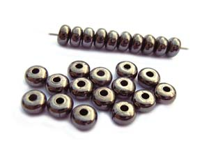 Base Metal Beads - 4.3x2.5mm Donut Spacer Gunmetal Black Plated x72 approx