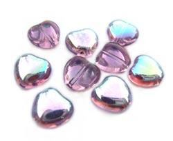 Czech Glass Puffy Heart Beads 8mm Light Amethyst AB x25