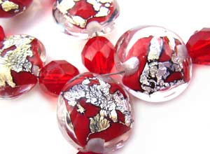 SOLD - Artisan Glass Lampwork Beads ~ Scarlett Obsession Lentils