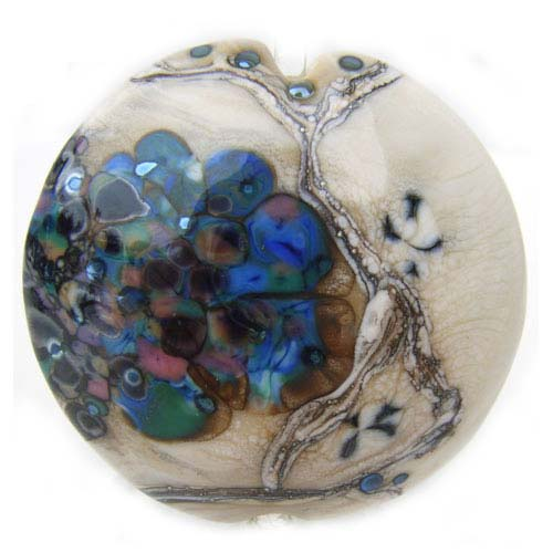 "1.5"" Peacock Flurry Lentil 36mm ~ Ian Williams Handmade Artisan Glass Lampwork Pendant Bead x1"