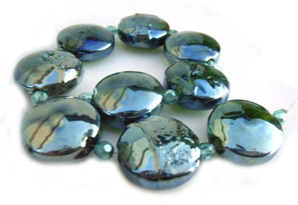 Reflective Greens - Ian Williams Artisan Glass Lampwork Beads