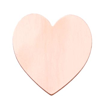 Copper Metal Stamping Blank, Large Heart (1 1/2 inch) 35x37mm Pendant 24ga x1