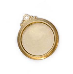 Brass Framed Circle 24g 16.7mm Bezel Charm (13mm id)