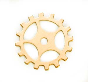 "Brass Gear Cog with Spokes 24g 3/4"" 19mm"