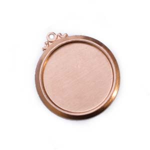 Copper Framed Circle 24g 22mm Bezel Charm (18mm id)