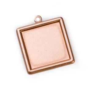 Copper Framed Square 24g 19.5mm Bezel Charm (18mm id)
